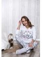 Lingabooms Let İt Snow Kedi Nakışlı Kadın 2'li Pijama Takım  Pembe